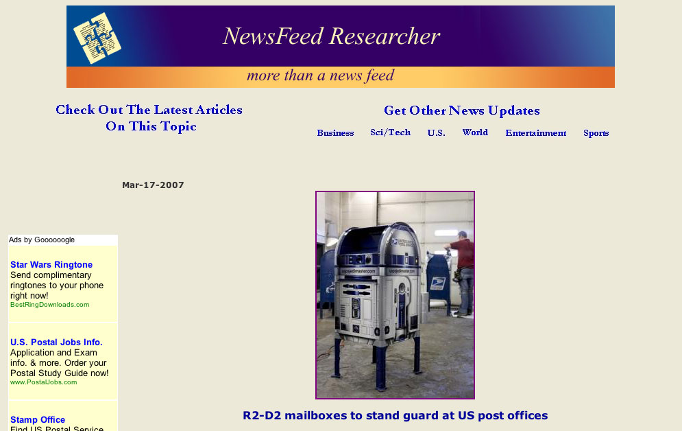 R2-D2 mailboxes to stand guard at US post offices.