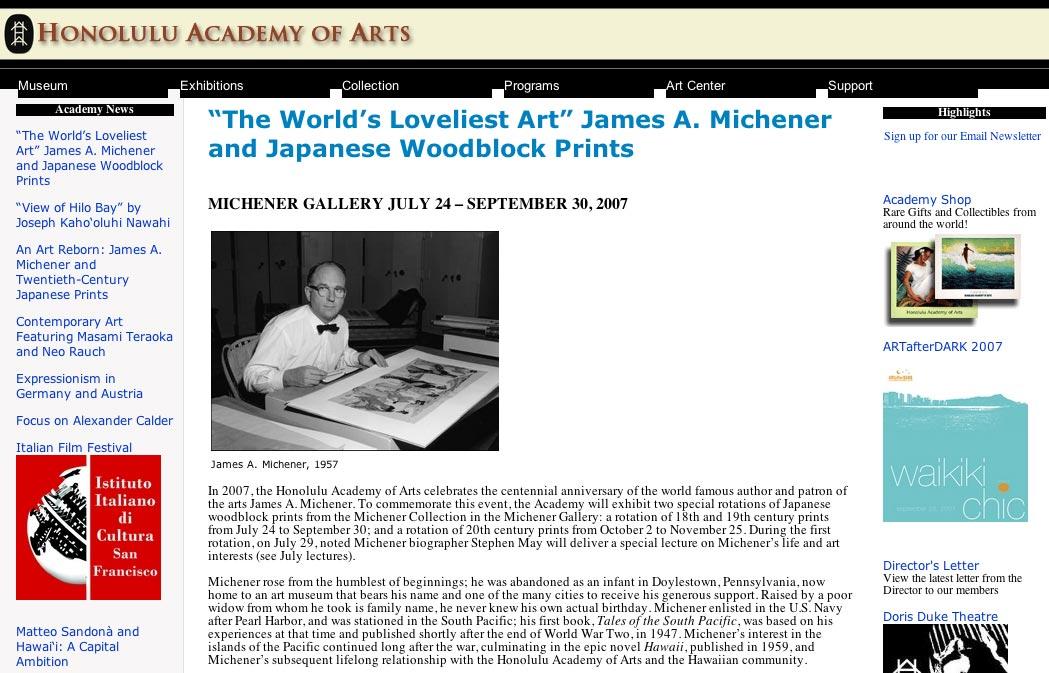 ホノルル美術館 ミッチェナー生誕100周年特別展示